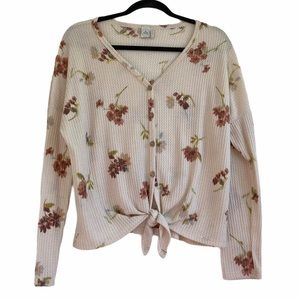 Paper Cran Floral Waffle Knit Top with Front Tie